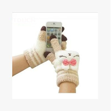 Cute cartoon bunny female Korean winter thick wool gloves fingers touch screen