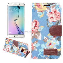 Fl3569 Flower Wallet phone Case TPU Cover For Samsung S6 Edge with stand