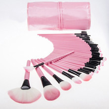 32 PCS Pink Wool Makeup Brushes Tools Set with PU Leather Case Cosmetic Facial Make up Brush Kit