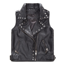 Autumn Handsome Custom Motorcycle Kids Rivet Black Leather Vest
