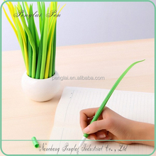 2016 silicone grass leaf pen shaped ball point pen in pot