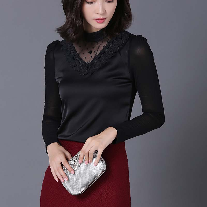 WA2490 Fall 2015 Women sexy bottom shirt embroidered lace collar lady tops