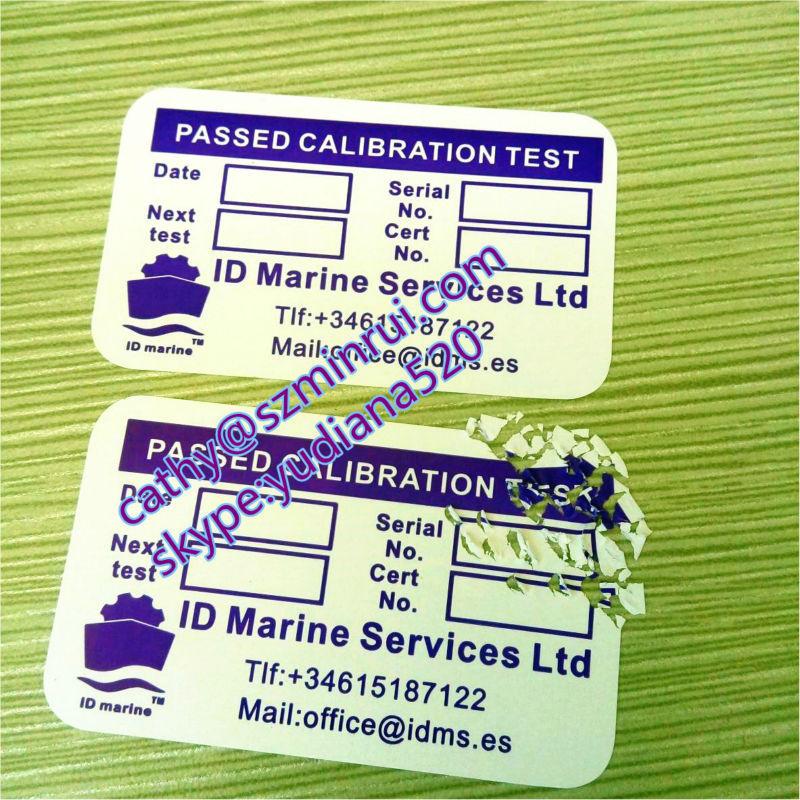 Calibration Sticker