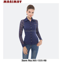 Trendy design ladies lace shirt long sleeves shirt,woman clothing manufacturer