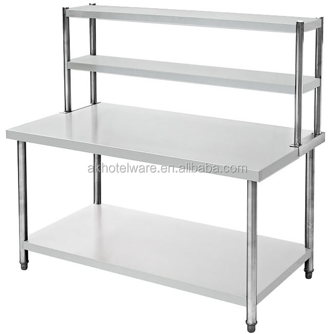 Commercial Kitchen Stainless Steel Table With Glass Top/Double Work Table Stainless Steel With Top Shelf