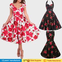 2017 Ladies elegant printed summer cheap bulk party dress short skater vintage retro cocktail dresses for women sexy