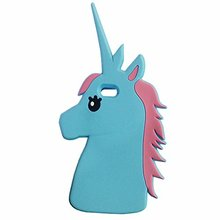 For iphone 3D Cartoon Unicorn Horse Colorful Silicone Phone Case