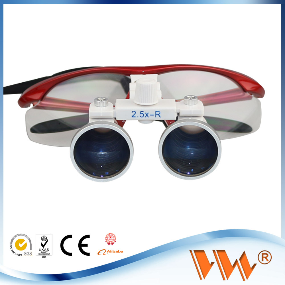 red blue gray black color 2.5x dental and surgical loupes with headlight