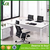 2016 Knock Down MFC top L-shaped executive office table design with cabinet