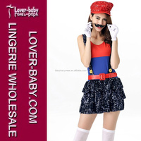 Block Jumping Plumber Costume Mario Bros. Two Suspender Skirt Halloween Role Playing Clothes for Stage Wear L15334-1