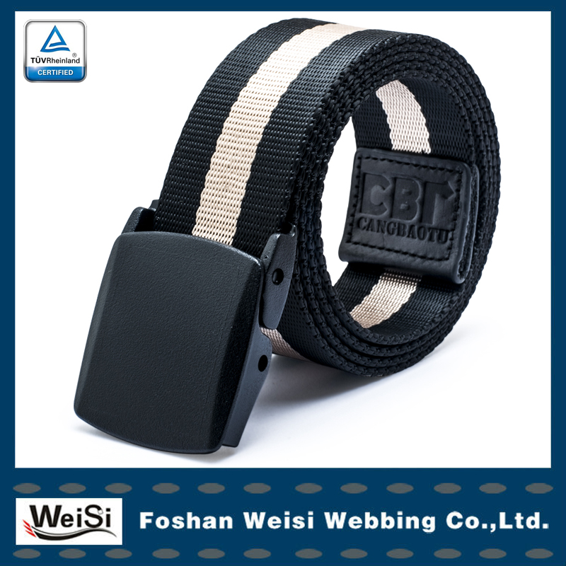 Fashion belt stripe nylon belt with plastic buckle