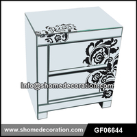 Flower Decorative Mirrored 2 Drawers Bedroom Furniture Bedside Table Nightstand