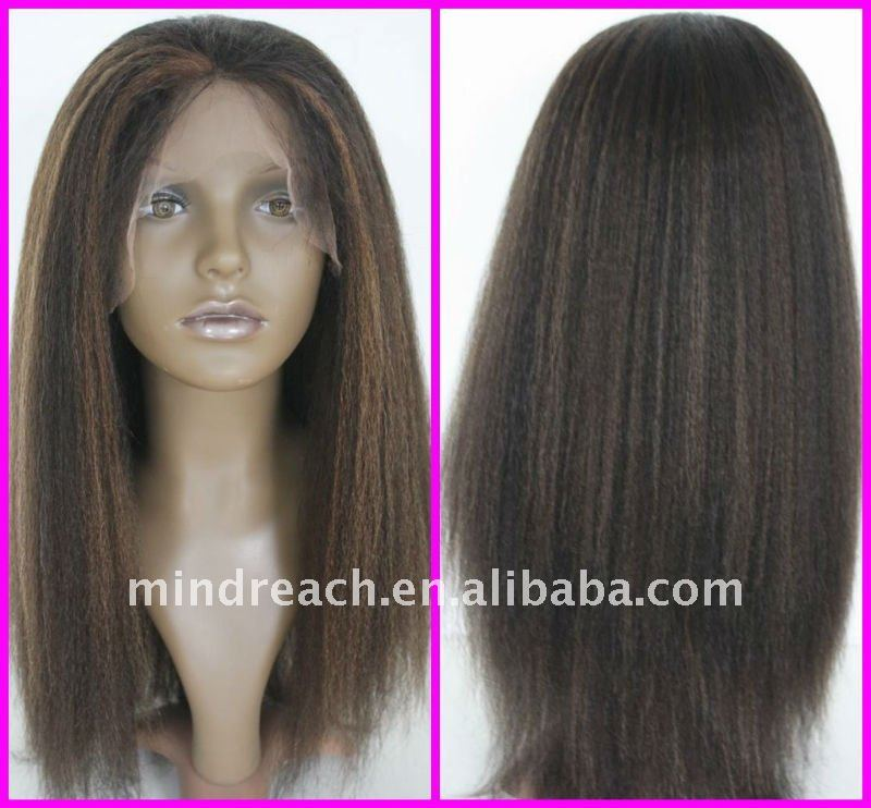 "Top quality 18"" kinky straight Malaysian virgin human hair full lace wig,accept escrow payment"