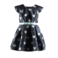 cartoon children girl party wear dress clothing with waistband 2016