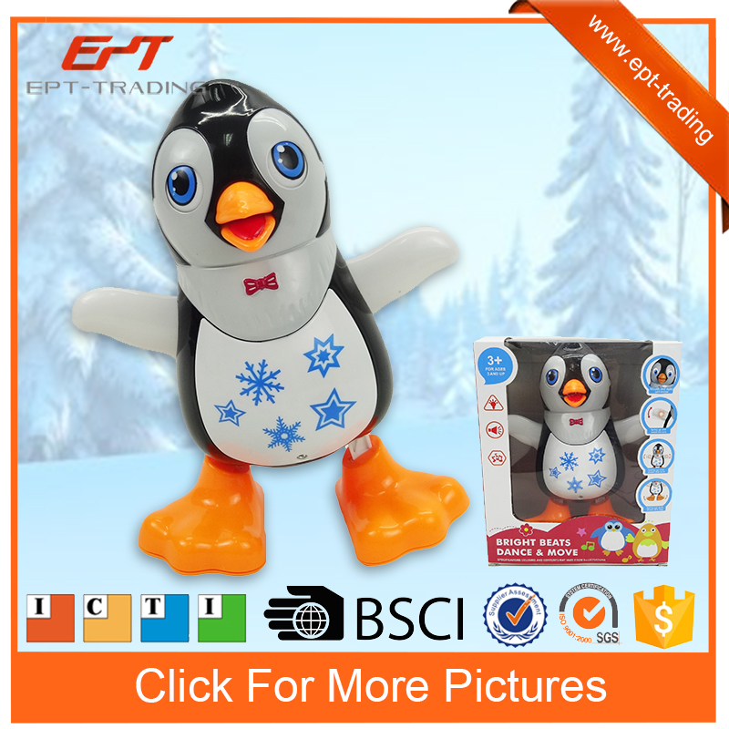 Cartoon battery operated plastic animal toy penguin with music