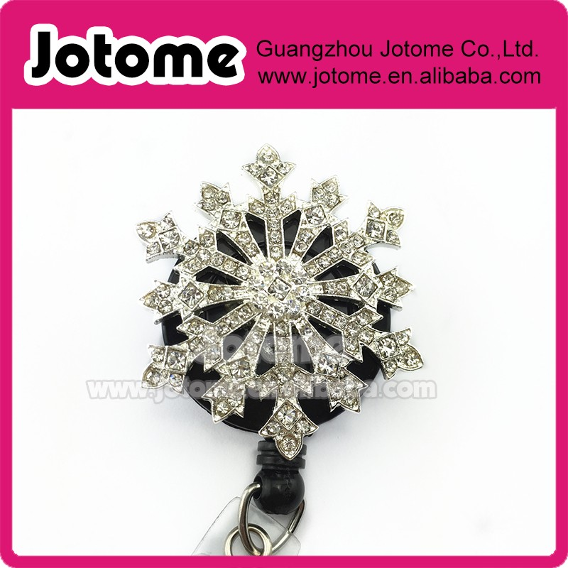 Christmas snowflake retractable name badge holder