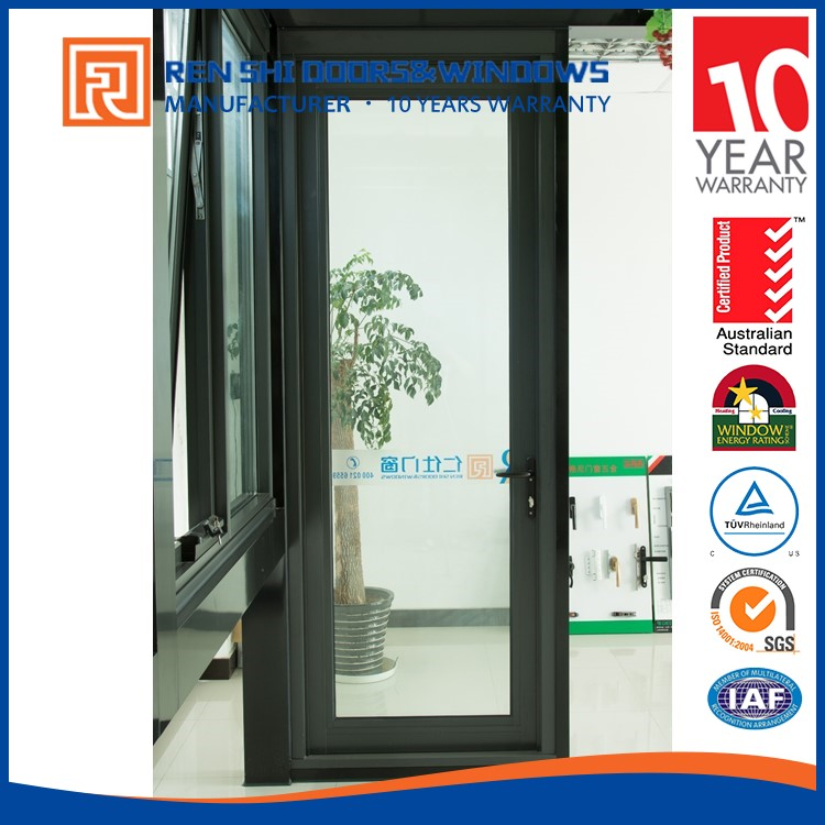Aluminum Frame Glass Spring Entry Door Double Casement Door
