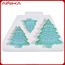 Top quality Christmas tree theme silicone chocolate moulds for cake decoration and baking DIY