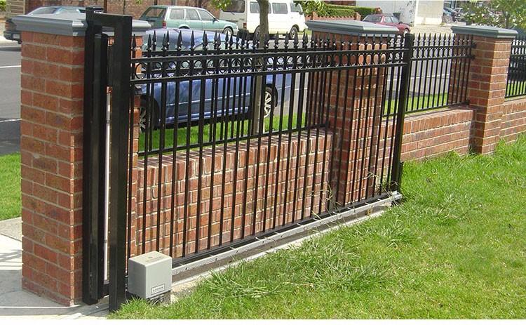 Black powder coated security backyard metal steel picket