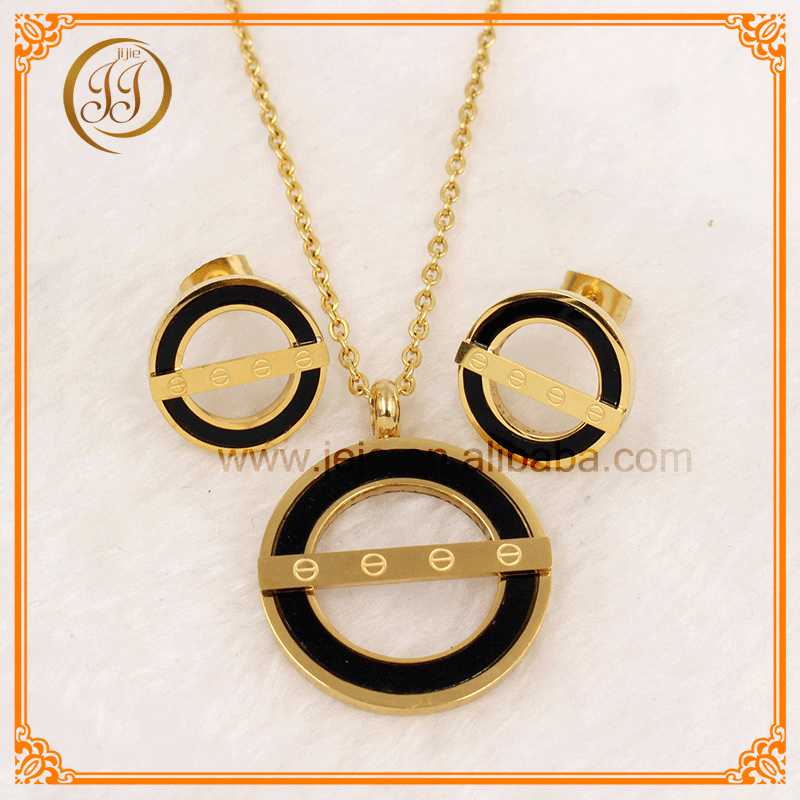 Custom Women Jewelry Black And Gold High Fashion African Jewelry Sets