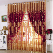 Factory price custom Printed luxury colorful Curtains with valance