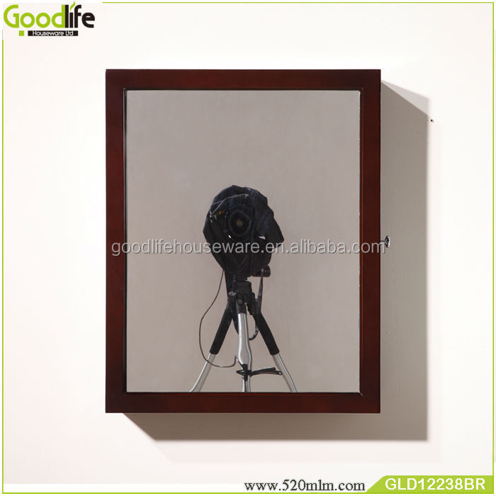 Espresso wooden mirror jewelry cabinet for rings, necklace, bracelets