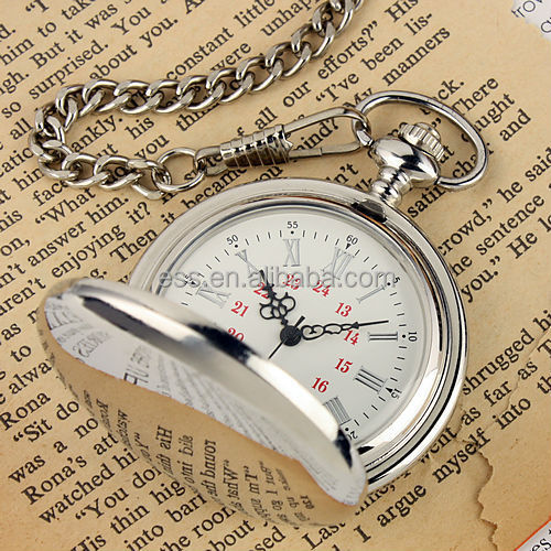 WP004-ESS New Mens White Dial Roman Numbers Modern Pocket Watch with Chain