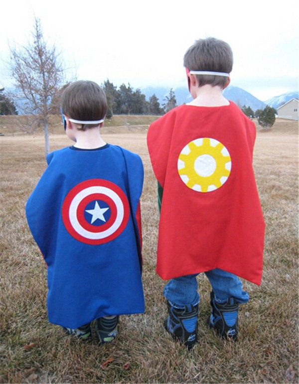 REVERSIBLE Iron Man Superhero Cape Costume with 2 Masks Machine Washable
