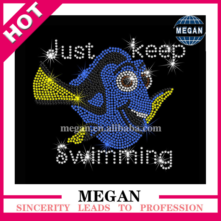 Dory Finding Nemo fish iron on rhinestone transfer applique patch for garments