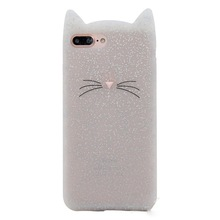 3D cute cartoon glitter beard cat Ears soft silicone case For iphone 5 5s se 6 6s plus 7 7plus 8 rubber Coque back cover