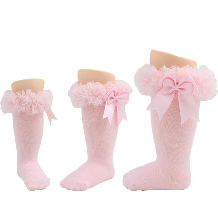 New Style TuTu Knee High Cute Baby Bow Lace Cotton Ankle Thick Sock