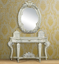 French White Louis Style Console Table with Mirror, Antique Classical Gilded