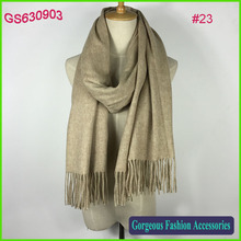 High fashion ladies 100% wool plain solid color wool scarf wrap shawl wholesale