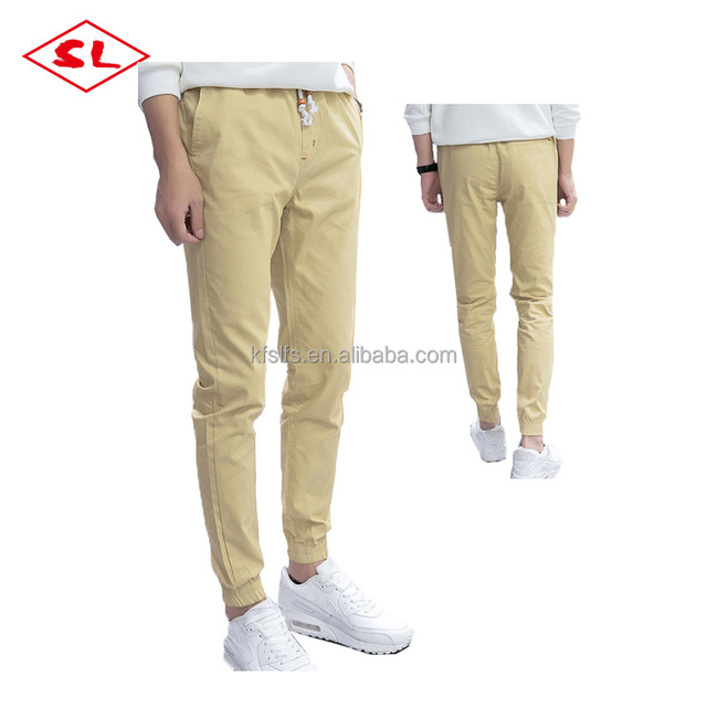 100% linen elastic drawstring pure color navy khaki black men jogger pants OEM service