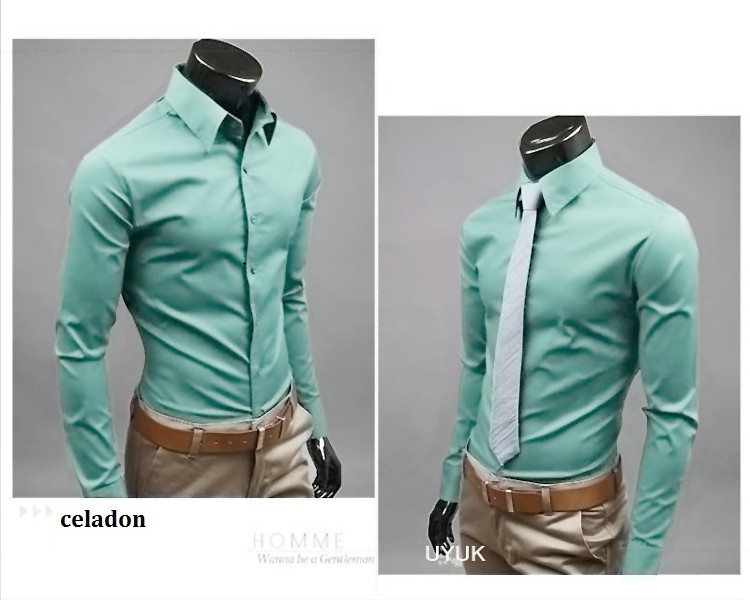 Men New Fashion Designer Solid Non Iron Slim Fit Business Formal Long Sleeve Dress Shirt with wholesale price