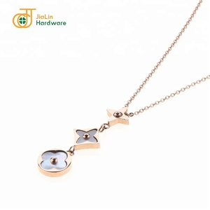 Stainless Steel Charm Pendant Necklace, Shell Necklace Jewelry