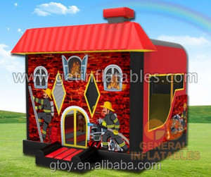 0.55mm pvc Inflatable Fire house combo, fire station firefighter bouncer and slide