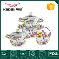 7pcs Porcelain Enamel Coated Cookware Manufacturer in Zhejiang