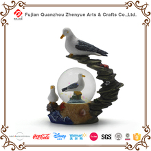 2017 new product animal landscape snowglobes high quality resin glass seagull snow globe