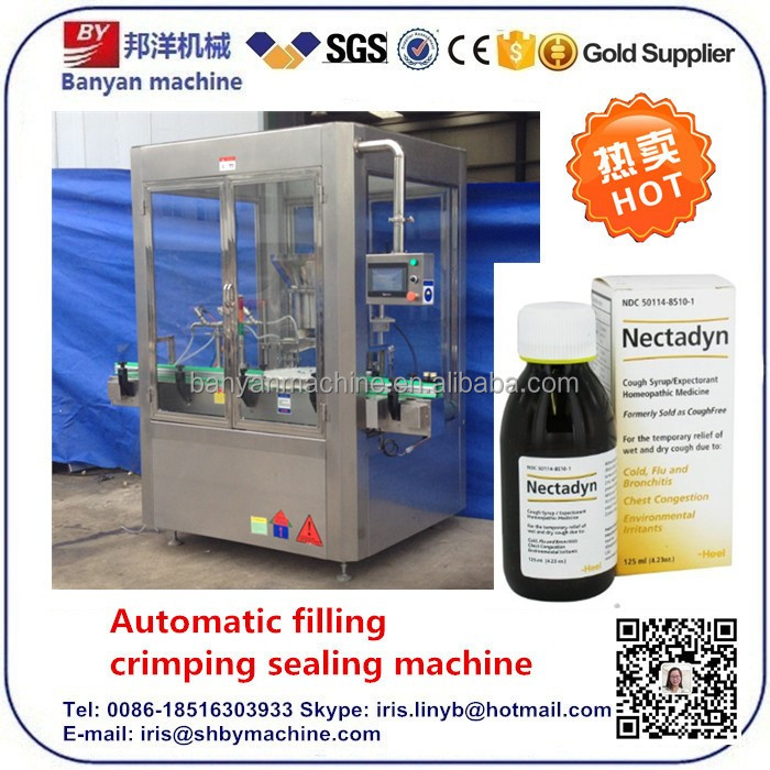 Automatic glass bottle cough syrup filling and capping machine