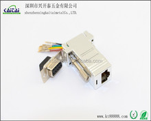 rs232 to rj45 db9p plating plastic shell adapter