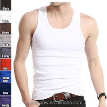 high quality 100% cotton white plain ribbed men's muscle racer back tank tops