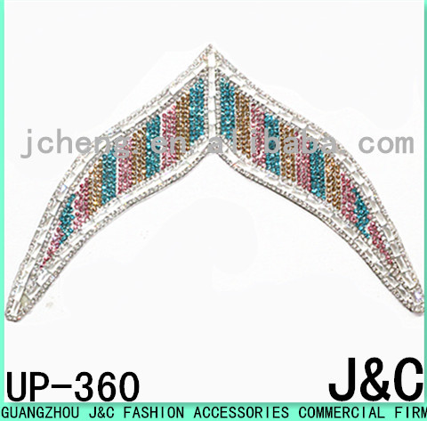 colorful 2016 hot sale v shape adhesive beads stone and rhinestone shoe upper sheets