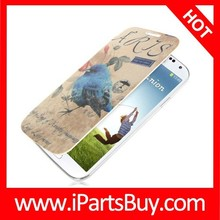 Retro Postcard Style Replacement Back Cover with Flip Leather Case for Samsung Galaxy S IV