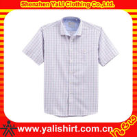 OEM classic design high quality plaid casual fit mens cotton oxford short sleeve shirt