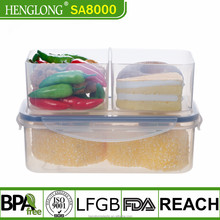 Henglong FDA Grade Compartment Lunch Box Plastic With Fork