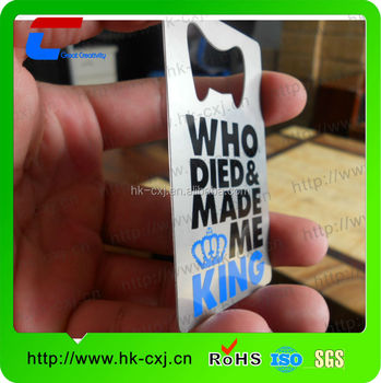customize printing cut through bottle opener business card for metal bottle opener/beer bottle opener