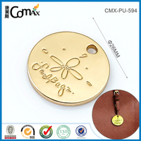Fashion engraved gold engraved handbag logo metal plate with 1 hole