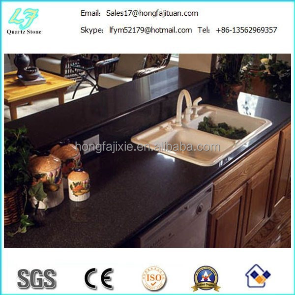 Top quality artificial quartz stone slab countertop black sparkle quartz stone looking for dealer in korea