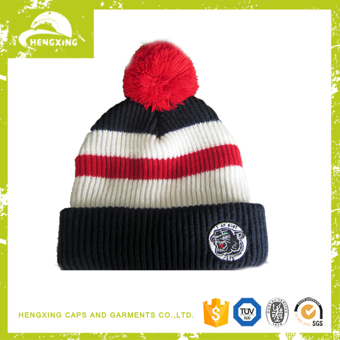 Custom embroidery 100% acylic red gray knitted beanie hat